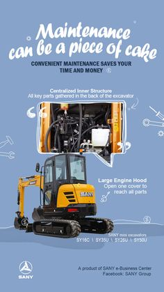 SANY mini excavator features high productivity, reliability, versatility and easy maintenance. The zero-tail mini excavators could be used in narrow working conditions. Mini Excavator, Heavy Machinery, Crane, Concrete, Engineering, Construction, Technology, Building, Tech