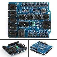 Placa de expansión de escudo de sensor V5 para Arduino-UNO MEGA 2560 Servo Motor Bluetooth