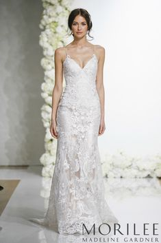 c17675707627 Morilee | Madeline Gardner, Laura Style 8285 | Fitted Sheath Wedding Dress  Featuring Medallion Style