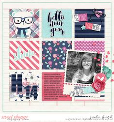 Hannah at 14 Digital Scrapbook Layout by Juli Fish.  Credits - Resolutions by River Rose Designs at Sweet Shoppe www.sweetshoppedesigns.com  square, black and white photo, flower, bear, word strips, hearts, button, teen