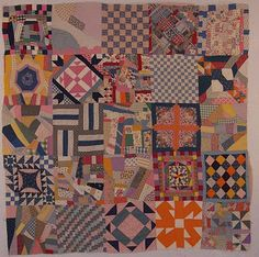 """Block Sampler found in Manhattan, Kansas. fabrics circa 1920-1930. The quilt measures 65"""" x 65"""", the blocks are about 13"""" square."""