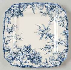 222 Fifth ADELAIDE-BLUE  WHITE Square Dinner Plate 9068088
