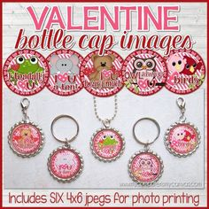 "Looking for a fun Valentine's Day craft activity, gift, favor or candy free option? These 1"" round images are perfect for making inexpensive necklaces, key chains, zipper pulls, magnets & more. A completed pennant also makes a great gift or favor... but these images can also be used for card making, scrapbooking, jewelry making, various camp/activity crafts, glass or resin pennants, magnets and tons more! ★ Fun craft for the kids at a Valentine's Day Party ★ Perfect..."