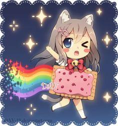 Chibi gato arco-íris