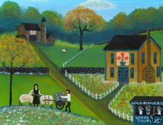 WILD FLOWER FARM OLD SHEEP WAGON FOLK ART