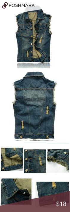 13eb57cf5bfe7 Men s Fit Retro Ripped Jeans Vest Demin Jacket Description The style is  stone washed denim vest