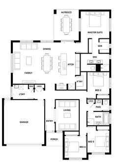 Porch House Plans, House Layout Plans, House Plans One Story, Family House Plans, New House Plans, Dream House Plans, Small House Plans, Floor Plan 4 Bedroom, 4 Bedroom House Plans