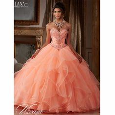 Juliana Elegant Coral Mint Ball Gown Quinceanera Dresses 2017 with Tiered Lace-up Cheap Prom Sweet 16 Dresses QA946
