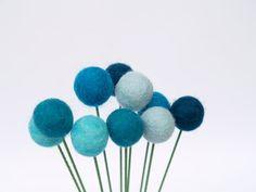 Blue Craspedia Flowers, Shabby Chic Home Decor Felt Wool Billy Button Flower Ball Pom Pom turquoise aqua decorating for her