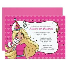 #Spring #AdoreWe #Zazzle - #Zazzle Barbie Heart Pattern Birthday Invitation - AdoreWe.com