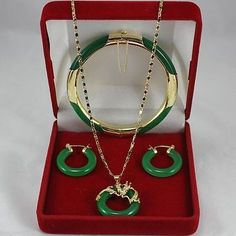 Latest ! Fashion jewelry green jade necklace pendants earrings  bracelets Set | eBay