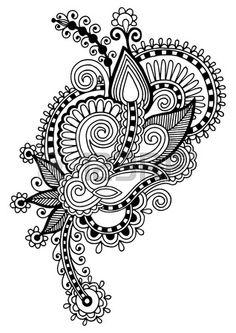 black line art ornate flower design, ukrainian ethnic style, autotrace of hand drawing