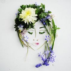 I finally had the time and inspiration to make a #ninisfaces again with the flowers I collected in the park yesterday (and some leftovers from a @bloomonnl bouquet from two weeks ago). It was so relaxing to make one again, and I feel the inspiration to make more! #facethefoliage #playingwithpetals