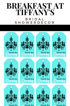 Looking for Breakfast at Tiffany's party ideas? These printable gift tags are perfect for a Tiffany's bridal shower or birthday party. This easy DIY pairs with matching items. Bridal Shower Party, Bridal Shower Invitations, 60th Birthday, Birthday Parties, Breakfast At Tiffanys Party Ideas, Tiffany's Bridal, Tiffany Party, Cool Themes, Gift Tags Printable