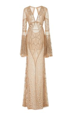 Naeem Khan's bead embroidered gown is designed with a v-neckline, a fitted body and flared long sleeves with a flared skirt. Funky Dresses, Red Carpet Dresses, Lovely Dresses, Beautiful Outfits, Long Dresses, Beautiful Evening Gowns, Evening Dresses, Gowns Of Elegance, Dream Dress
