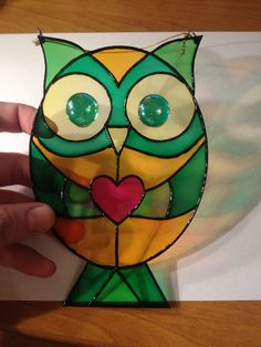 Stained Glass Suncatcher Owl With Heart by StainedGlassItems