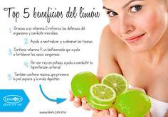 Mini-infografía: Top 5 beneficios del limón.  #salud #belleza #bienestar #infografía