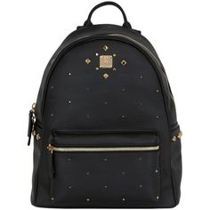 Mcm Women Medium Stark Odeon Faux Leather Backpack ($1,020) ❤ liked on Polyvore featuring bags, backpacks, black, day pack backpack, studded bag, faux leather backpack, mcm backpack and vegan leather bags