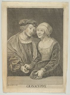 An Old Woman and a Young Man Artist: After Lucas Cranach the Elder (German, Kronach 1472–1553 Weimar) Medium: Engraving Dimensions: Sheet: 9 7/8 × 7 1/8 in. (25.1 × 18.1 cm)