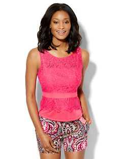 Shop 7th Avenue Design Studio - Lace-Overlay Shell - Petite . Find your perfect size online at the best price at New York & Company.