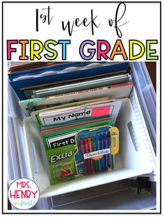Love all these ideas for First Grade! Make your own First Week of School Box! Love all these ideas for First Grade! Make your own First Week of School Box! - Back To School 1st Grade Activities, First Day Of School Activities, First Grade Worksheets, Teaching First Grade, First Grade Reading, First Grade Teachers, First Grade Classroom, 1st Grade Math, Elementary Teacher