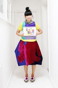 Susie Bubble wearing Missoni knit top, MSGM yellow top, Comme des Garçons skirt, Adieu shoes #susielau #stylebubble