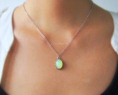 Chrysolite Opal Mint Green Necklace Sterling Silver Necklace Gold Filled Necklace Oval Pendant Necklace Modern Jewelry Gift