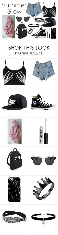 """School Style #123"" by paola200 ❤ liked on Polyvore featuring Boohoo, NIKE, Converse, NYX, Recover and Betsey Johnson"