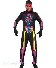 Neon Skeleton Bone Costume - Includes , Trousers , Top , Hood mask - 3 sizes available. http://www.novelties-direct.co.uk/Neon-Skeleton-Bone-Costume.html