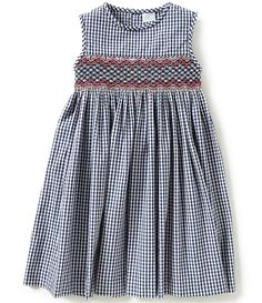 Edgehill Collection Little Girls 2T-4T Check Smocked Dress