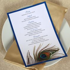 Peacock Feather Dinner Menu — Add a little style to your wedding or event with these elegant dinner menus. Lay on top of your dinner plate