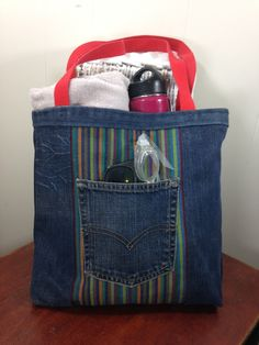 Upcycled Denim  & Upholstery Fabric Tote Bag - Rainbow by SavedbyKate on Etsy