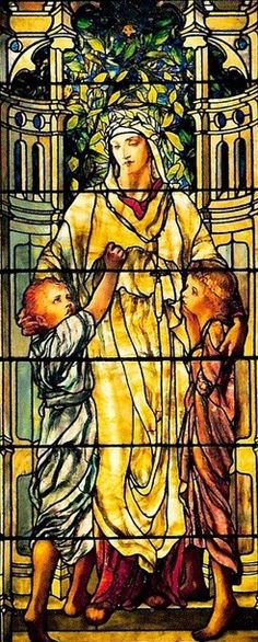 18th.Century Tiffany Glass Window - this might be considered a beautiful work of historical art, but that boy is pinching her nipple.
