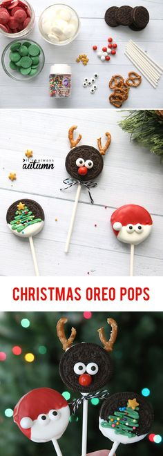 Christmas OREO pops are super cute and super easy! Fun Christmas treat to make with kids. : Christmas OREO pops are super cute and super easy! Fun Christmas treat to make with kids. Christmas Treats For Gifts, Christmas Cake Pops, Christmas Snacks, Christmas Cooking, Christmas Goodies, Christmas Candy, Holiday Treats, Diy Christmas, Easy Christmas Recipes