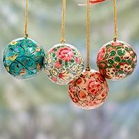 Papier mache ornaments, 'Christmas Joy' (set of - India Handmade Papier Mache Christmas Ornaments (Set of Every purchase will help UNICEF save and improve children's lives and help support talented artisans. Unique Holiday Gifts and DécorBenefit charit Christmas Ornament Sets, Christmas Baubles, Christmas Fun, Christmas Decorations, Holiday Decor, Christmas Desktop, Whimsical Christmas, Star Decorations, Vintage Christmas