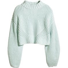 H&M Cropped jumper ($50) ❤ liked on Polyvore featuring tops, sweaters, jumpers, shirts, mint green, long sweaters, green crop top, green top, long sleeve jumper and mint sweater