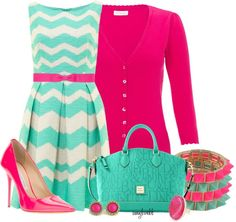 -chevron print dress -ribbon belt -Cardigan in a complimenting color heels -a killer purse -matching jewelry