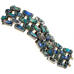 """Nicholas Varney Fire Opal & Gem-Set Link Bracelet Fire opal and gem-set five-row link """"Brick"""" bracelet in 18k yellow gold, 18k white gold and oxidized silver, designed as a flexible band or cuff composed of 35 """"bricks"""" handmade"""