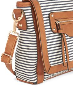 Classic Cappuccino Bag. You order your usual, but your look is anything but thanks to this navy-and-ivory striped bag! #blue #modcloth