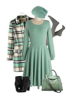 """""""Mint Plaid Coat"""" by chrissykp ❤ liked on Polyvore featuring Kate Spade, Marc Jacobs, plaid, longsleeve and mintandgray"""