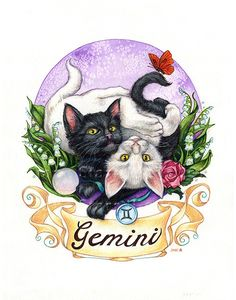 ABOUT THIS ART: Zodiac Cat - Gemini 8x10 Print - Actual paper size is 8.5x11. Matte finish. Image is formatted to fit standard 8x10 mats. This print is a beautiful acid free color fast Giclee' with incredible clarity. Shipped flat, packaged in a clear envelope with a backing board.