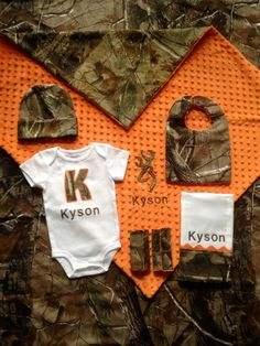 Real tree camo baby boy personalized 6 piece gift by Flatoutfunky, $98.00
