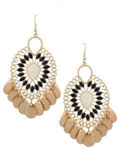 Stone Shiver Dangle Earrings Black/Ivory