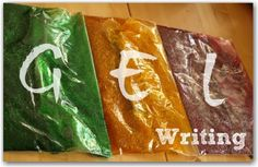 A fun sensory way to learn your ABC's with gel writing. Preschool Literacy, Preschool At Home, Preschool Activities, Pre Writing, Writing Skills, Motor Activities, Toddler Activities, Tot School, Early Childhood Education