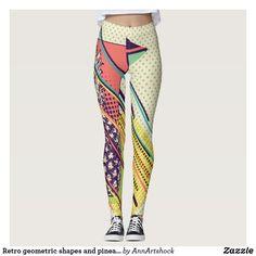 Pineapple Leggings, Best Leggings, Look Cool, Dressmaking, Geometric Shapes, Colorful Leggings, Things That Bounce, Sportswear, Cool Designs