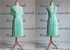 Mint Green Knee length Infinity Convertible Bridal Party Bridesmaids Short Dresses Tailor Made Plus Size Woman Cocktail Party Dresses by WomenLand on Etsy