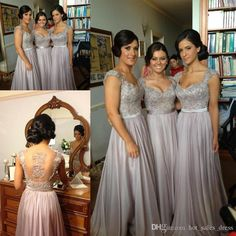 Wholesale 2014 In Stock Sexy Cheap Chiffon Wedding Bridesmaid Dresses Embroidery Bead A Line With Sweetheart Short Sleeve Sheer Back Floor Length, Free shipping, $58.91/Piece | DHgate Mobile