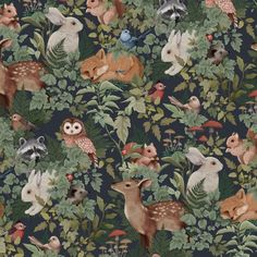 Digitally illustrated pattern repeat for Jimmy Cricket Wallpapers. Available to purchase in either Deep Teal, Dusty Blue or Charcoal here. Boat Wallpaper, Cricket Wallpapers, Woodland Theme, Designer Wallpaper, Whimsical, Kids Room, Illustration Art, Artsy, Drawings