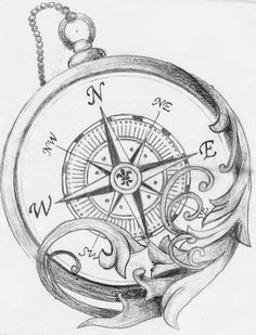 Compass tattoo design. Black & White.