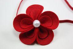 Baby Headband Red Flower Headband Christmas by BlueSkyDesignsCo